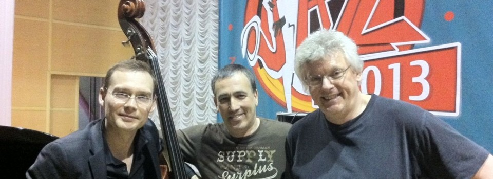 With the Misha Tsiganov Trio in Almaty, Kazakhstan, April 2013.